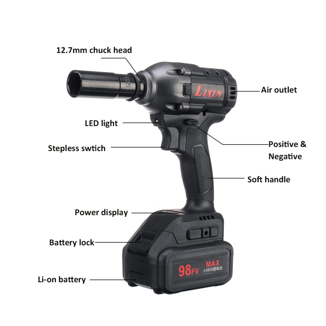 98FV 14800mAh Cordless Brushless Electric Wrench Drill LED Light W/ 1 or 2 Li-on Battery 38