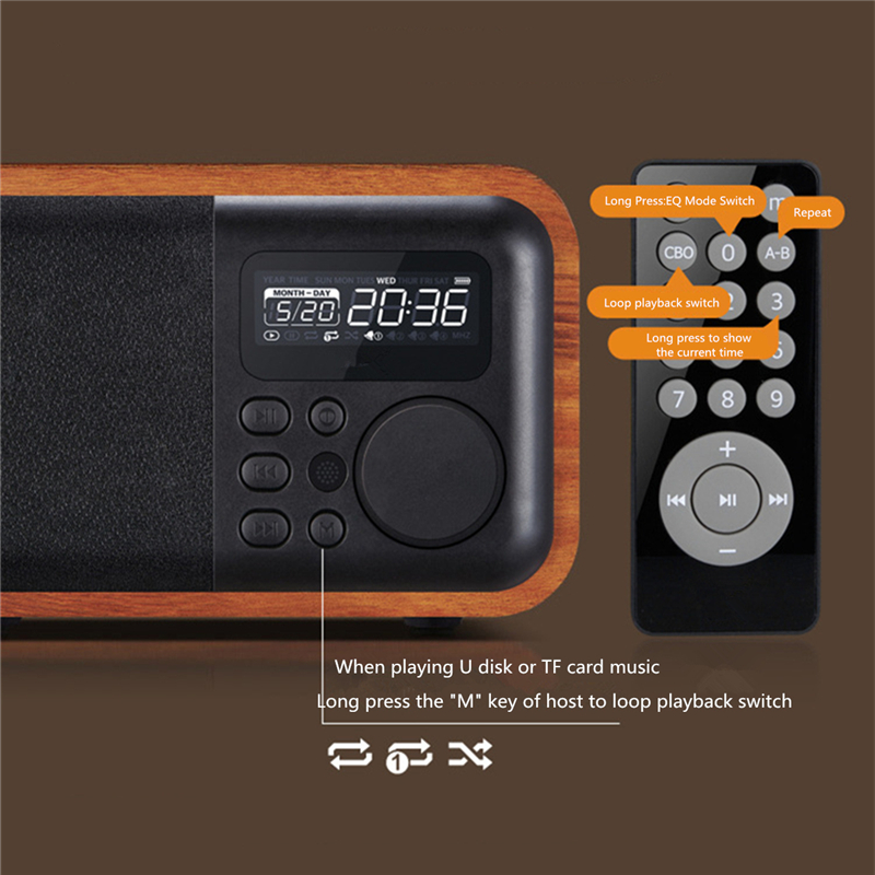 iBOX D90 Wooden Subwoofer Alarm Clock Microphone Bluetooth Speaker Support U Disk TF Card AUX 10