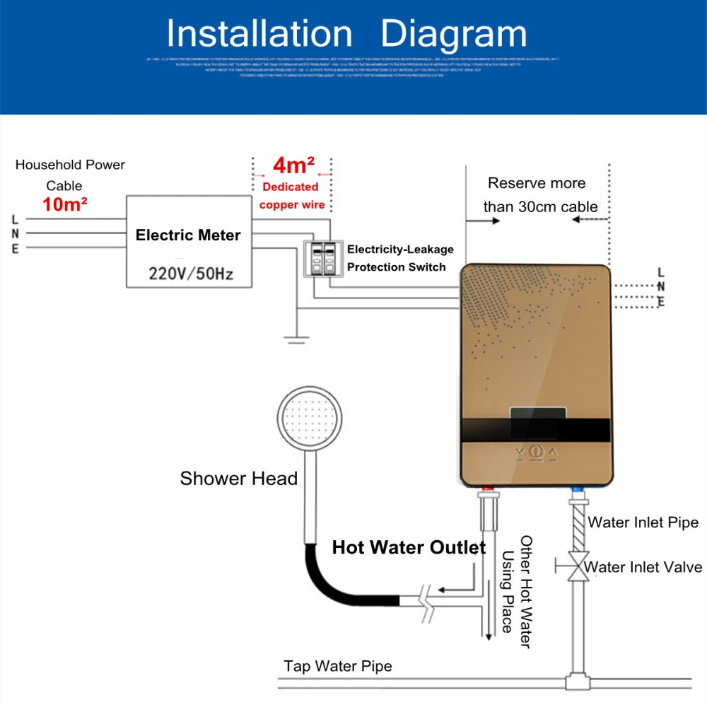 medium resolution of 6500w 220v tankless instant electric hot water heater boiler hot water heater wiring diagram 220v