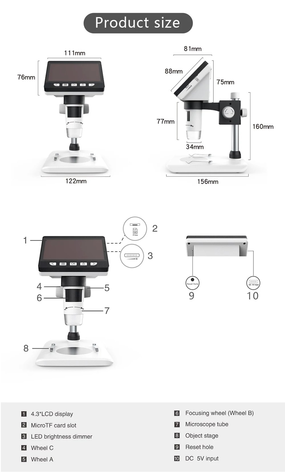 MUSTOOL G700 4.3 Inches HD 1080P Portable Desktop LCD Digital Microscope Support 10 Languages 8 Adjustable High Brightness LED With Adjustable Bracket Picture Capture Video Recording 38