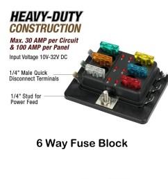 6 way led illuminated automotive blade fuse holder box circuit fuse block 32v [ 1001 x 1001 Pixel ]