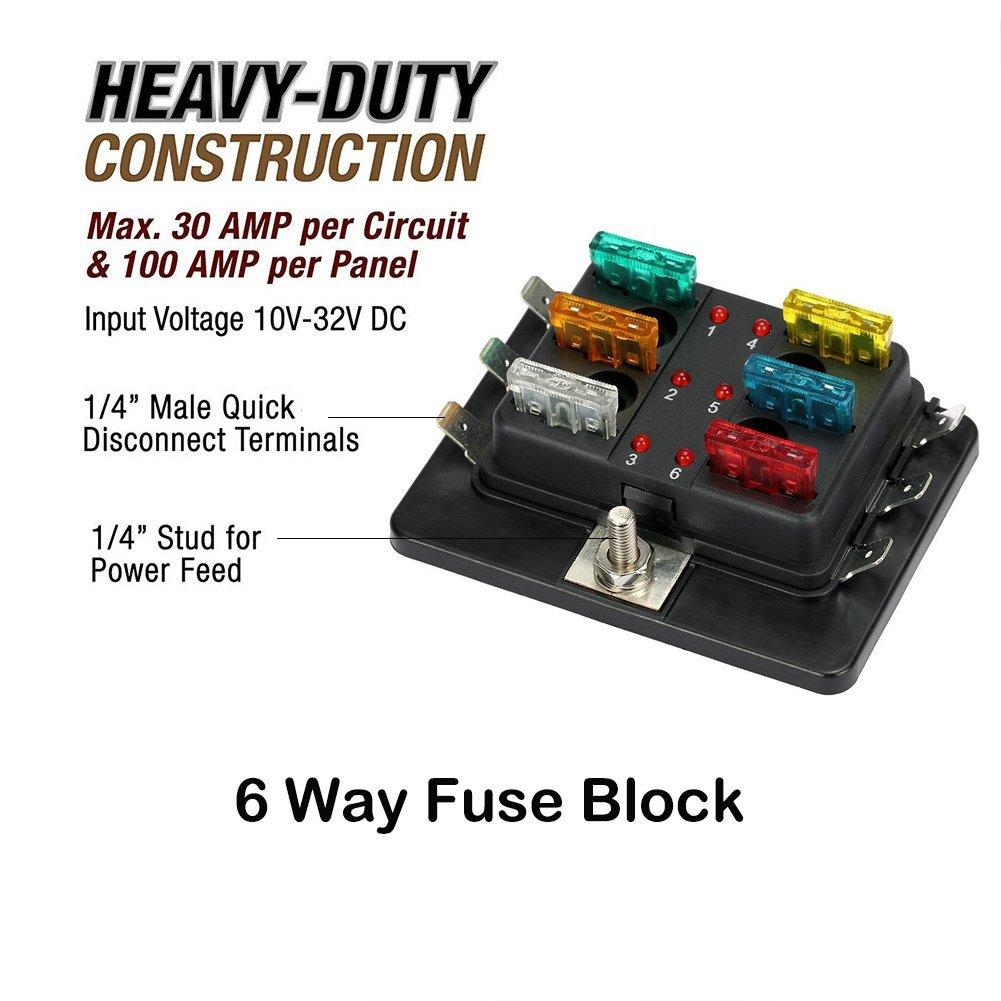 hight resolution of 6 way led illuminated automotive blade fuse holder box circuit fuse block 32v