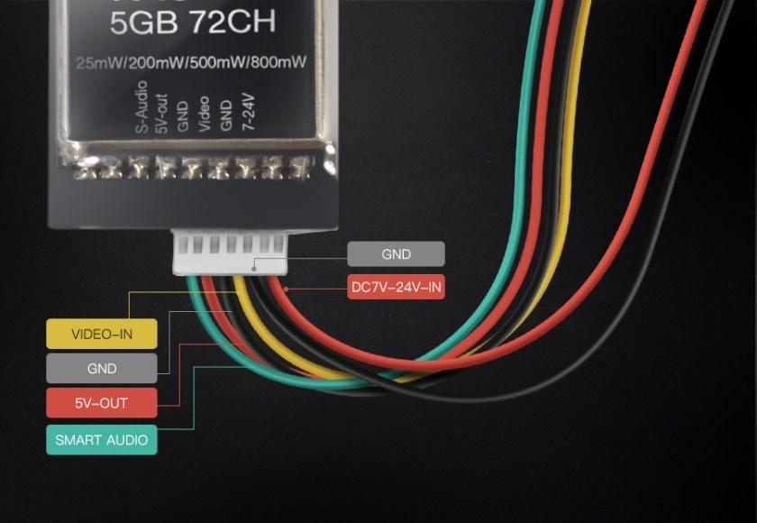 Eachine TX5258 5.8G 72CH 25/200/500 / 800mW Supporto trasmettitore FPV commutabile OSD Configurazione Smartaudio