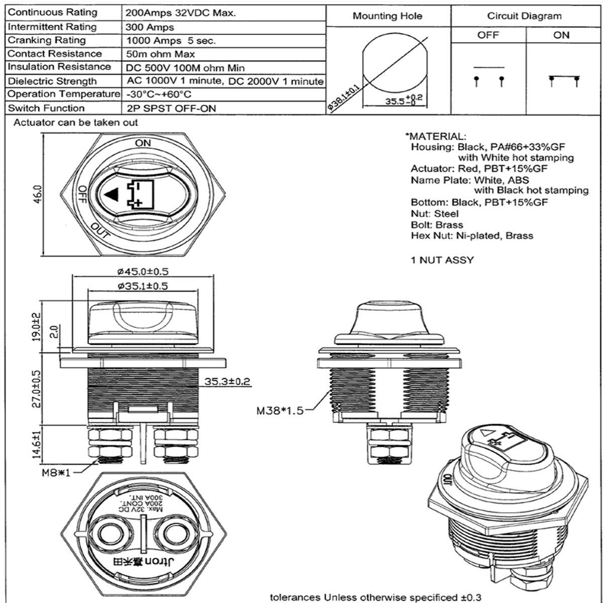 12-50v car battery rotary isolator battery switch selector