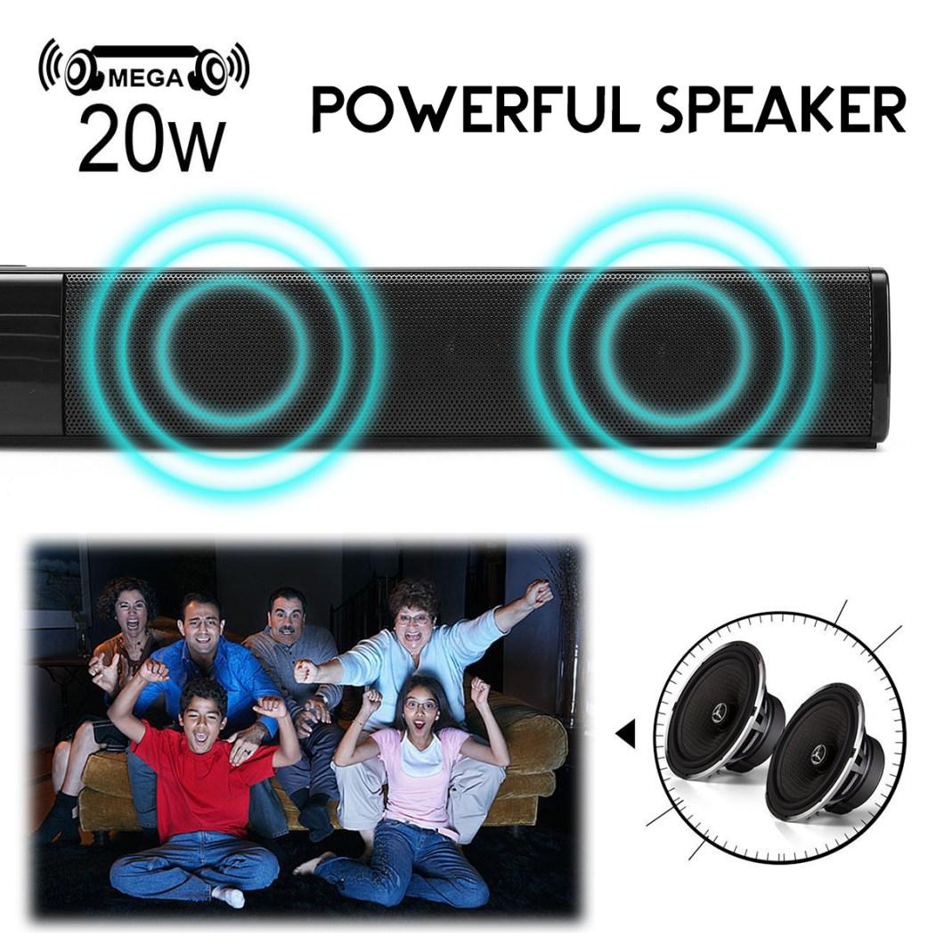 20W Wireless Bluetooth Speaker HiFi Stereo Soundbar FM Radio TF Card Aux-in Bass Speaker with Mic 9