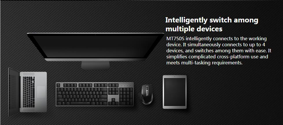 Rapoo MT750S Rechargeable Multi-mode Wireless Mouse Bluetooth 3.0/4.0 2.4GHz Switch Among 4 Devices 8