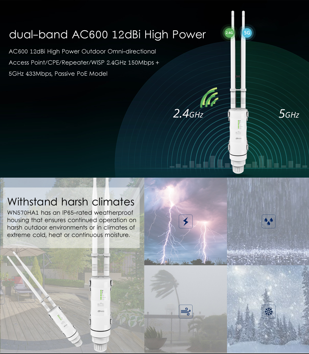 Wavlink AC600 2.4G/5G High Power Outdoor Waterproof WIFI Router/AP Repeater 2 Antennas 29