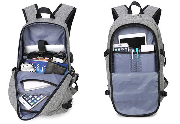 Men Women Polyester USB Charging Port Headphone Backpack Leisure Outdoor Travel Bag Weekender Bag