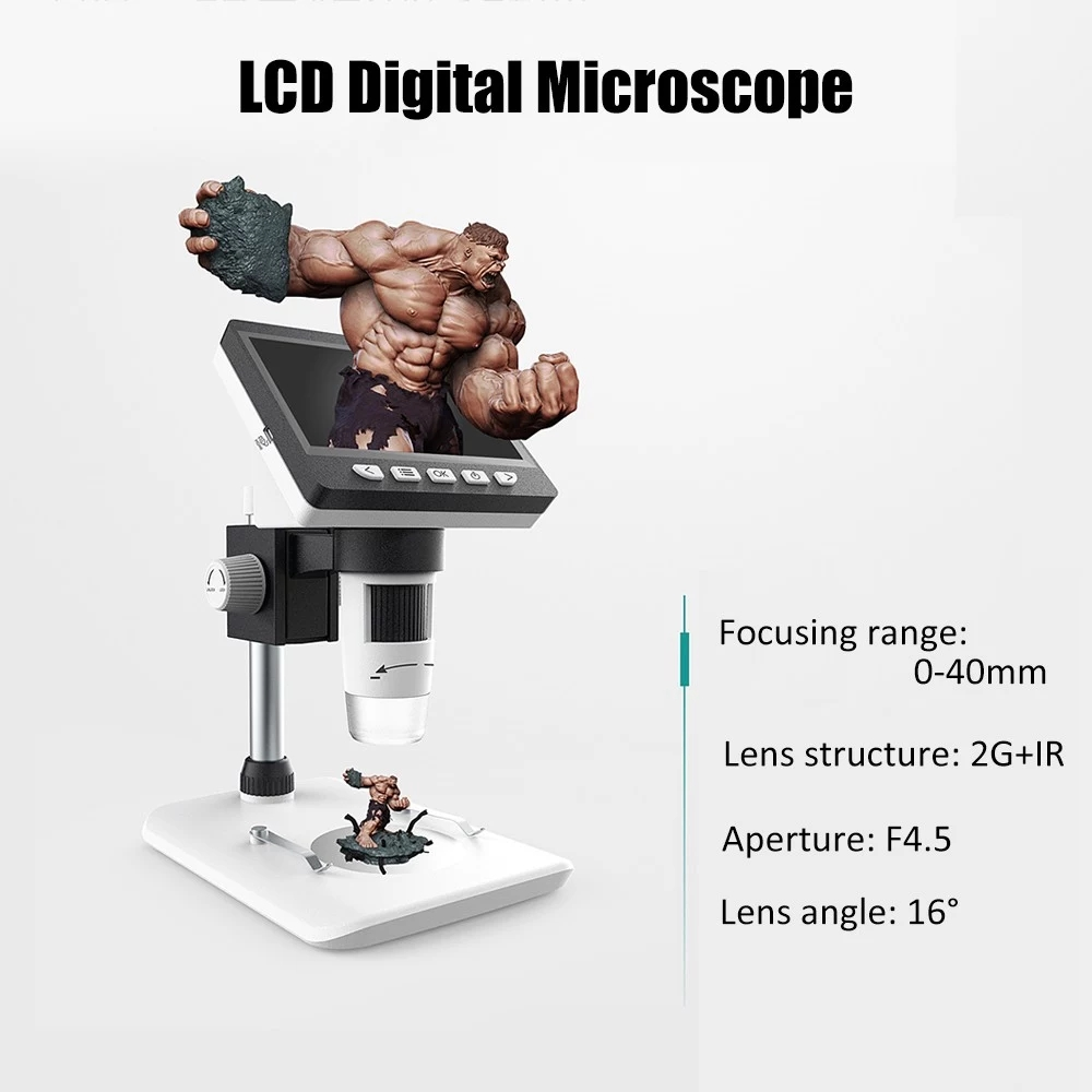 MUSTOOL G700 4.3 Inches HD 1080P Portable Desktop LCD Digital Microscope Support 10 Languages 8 Adjustable High Brightness LED With Adjustable Bracket Picture Capture Video Recording 32