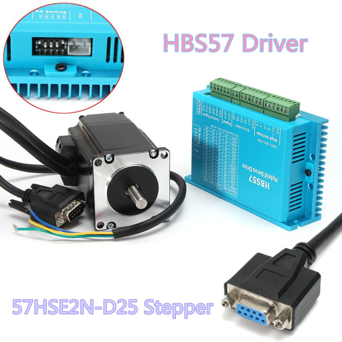 High Speed Closed Loop Stepper Motor + HBS57 Stepper Driver + Coding Cable Kit