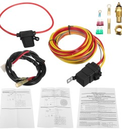 heavy duty dual electric fan 40 amp relay wiring harness thermostat sensor kit [ 1200 x 1200 Pixel ]