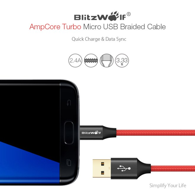 BlitzWolf® AmpCore Turbo BW-MC7 2.4A Braided Durable Micro USB Charging Data Cable 3.33ft/1m
