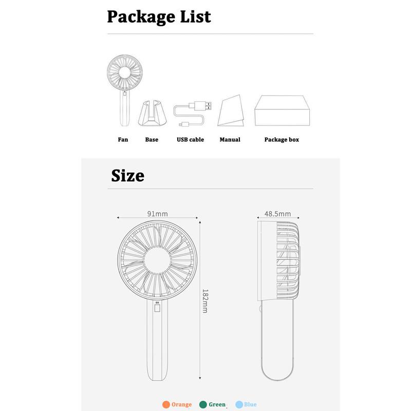 original xiaomi mijia vh fan portable handhold fan