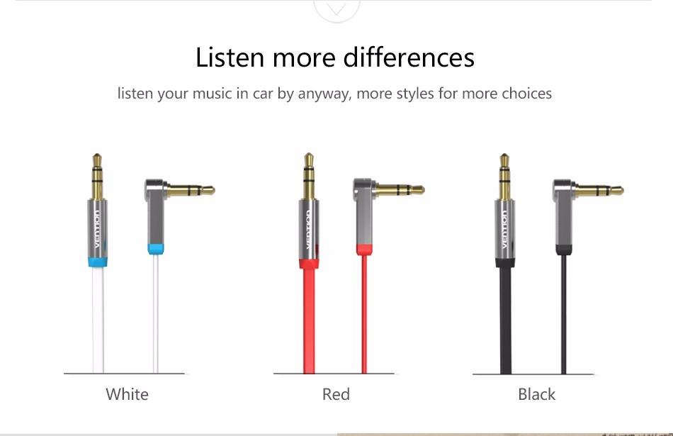 angle droit câble audio aux plate convention vab-b03 jack 3.5mm mâle à mâle câble d'extension de
