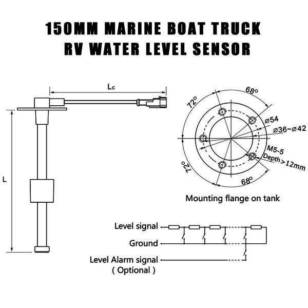 150mm marine boat truck rv water level gauge sensor fuel