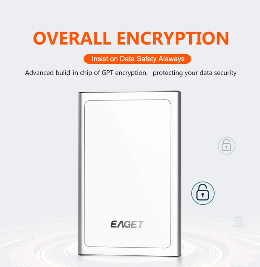 EAGET G90 USB 3.0 Full Encryption External Hard Drive 1TB 2TB Hard Disk 26
