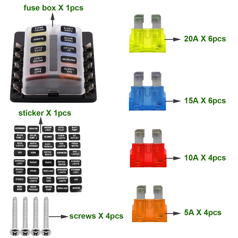 hight resolution of imars cs 579b3 10 way blade fuse box holder with led warning light for