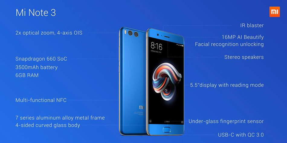 Xiaomi Mi Note 3 5.5 Inch Facial-Recognition 6GB RAM 64GB ROM Snapdragon 660 2.2GHz Octa Core Smartphone