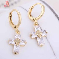Kuniu Cross Shaped Clear Crystal Zircon Dangle Pendant ...