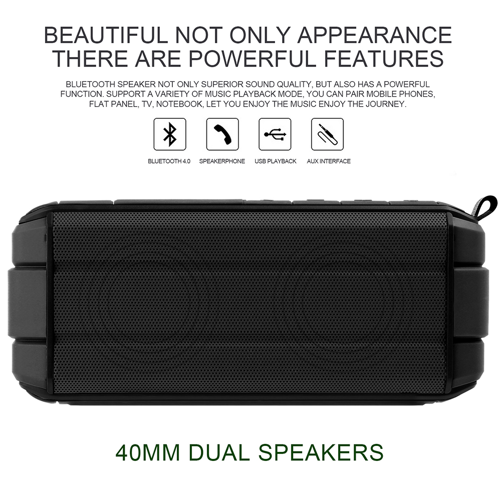 Bakeey™ IP65 Waterproof 10W Dual Unit Wireless Bluetooth V4.2 Speaker Tf Card Hands Free with Mic 9