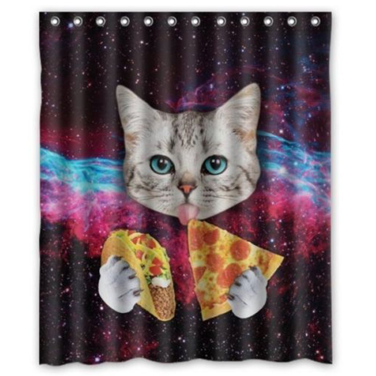 Space Nebula Cat Eating Pizza Home Bathroom Shower Curtain Polyester Hook Set