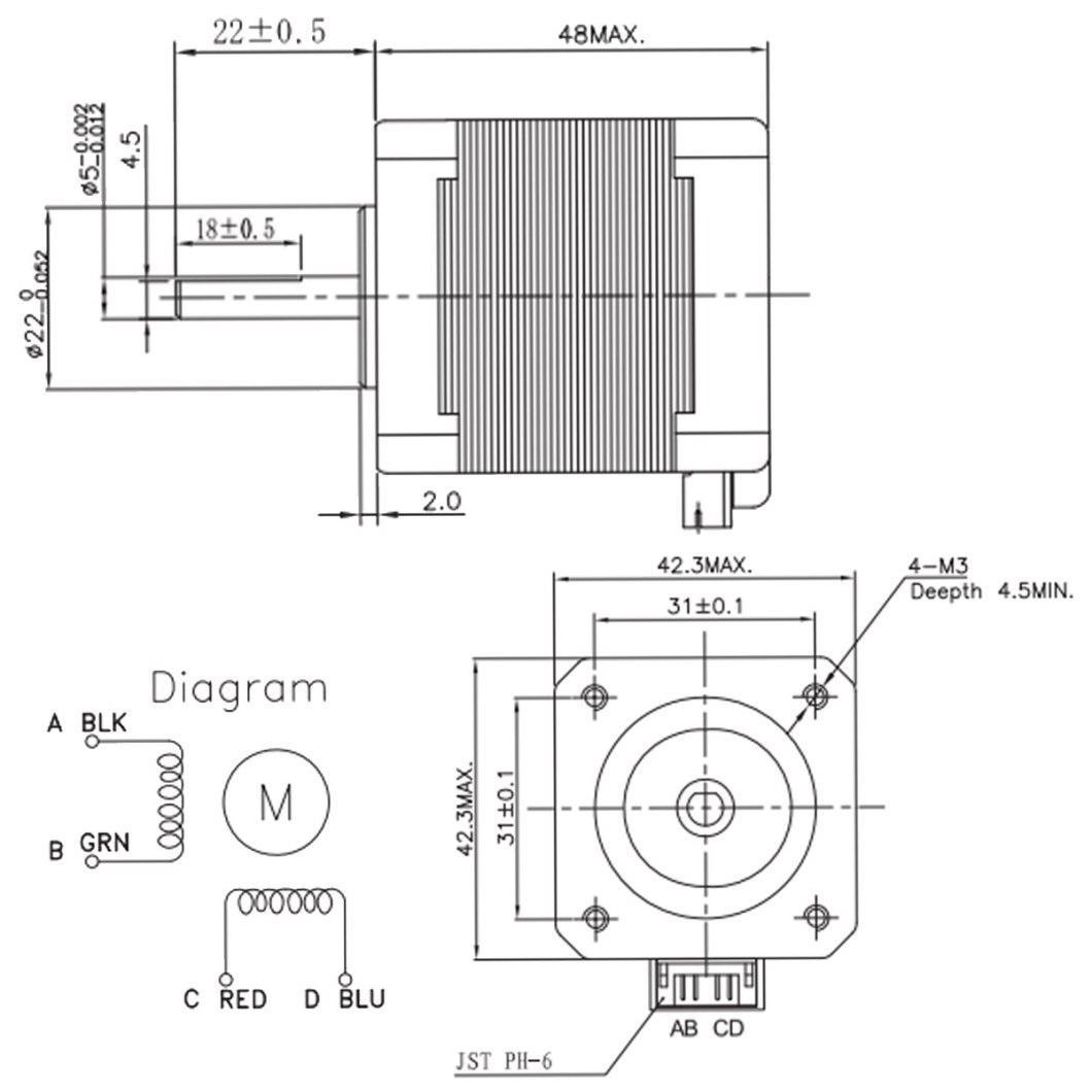Nema17 59Ncm 2A 1.8°4-lead 48mm Stepper Motor For 3D