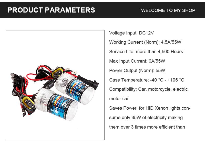 pair 12v 55w h7 hid car headlights xenon lamp bulbs 3000k