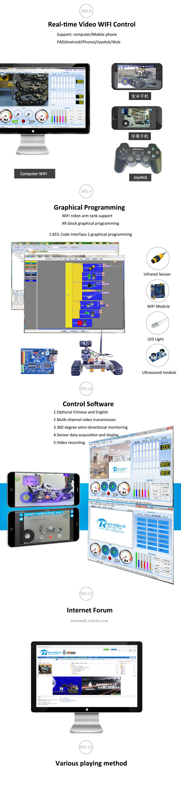 Xiao R DIY GFS WiFi Wireless Video Control Smart Robot Tank Car Kit