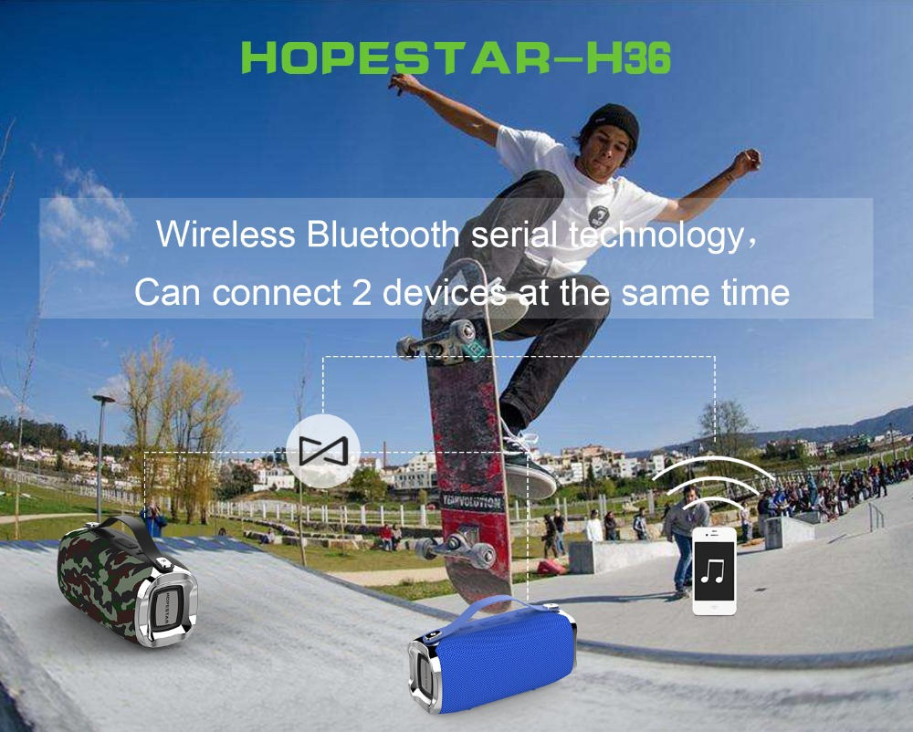 Hopestar H36 Portable Bluetooth Speaker Dual Units IPX6 Waterproof TF Card FM Radio Bass Speaker 16