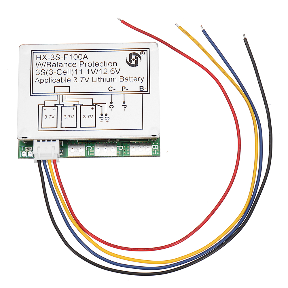 medium resolution of 1 x 3s 11 1v high current 100a 3 7v lithium battery protection board with balance