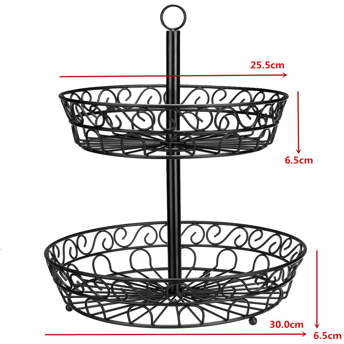 30cm Kitchen Restaurant Fruit Vegetable Basket 2 Tier Iron