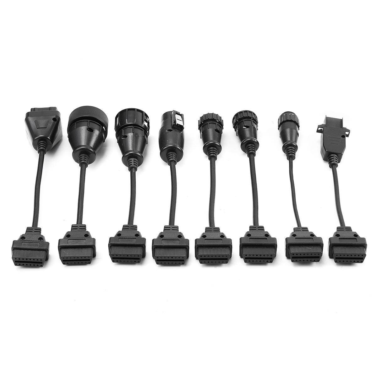 8pcs Obd2 Obdii Full Set Diagnostic Tool Adapter Truck