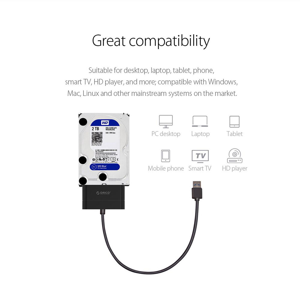 Orico 20UTS USB 3.0 SATA Ⅲ 6Gbps UASP 2.5inch HDD SSD External Hard Drive Adapter Converter Cable 33