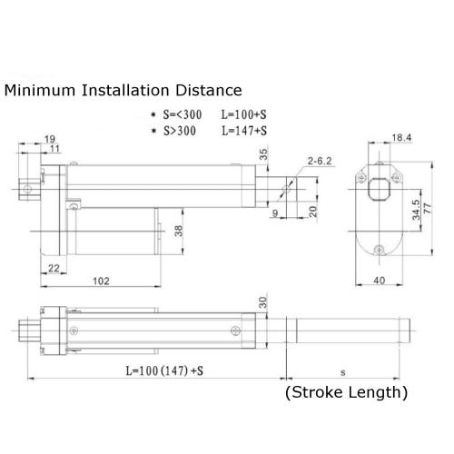 small resolution of 12v 500n 6 inch 150mm linear actuator adjustable actuator tor opener linear actuator motor