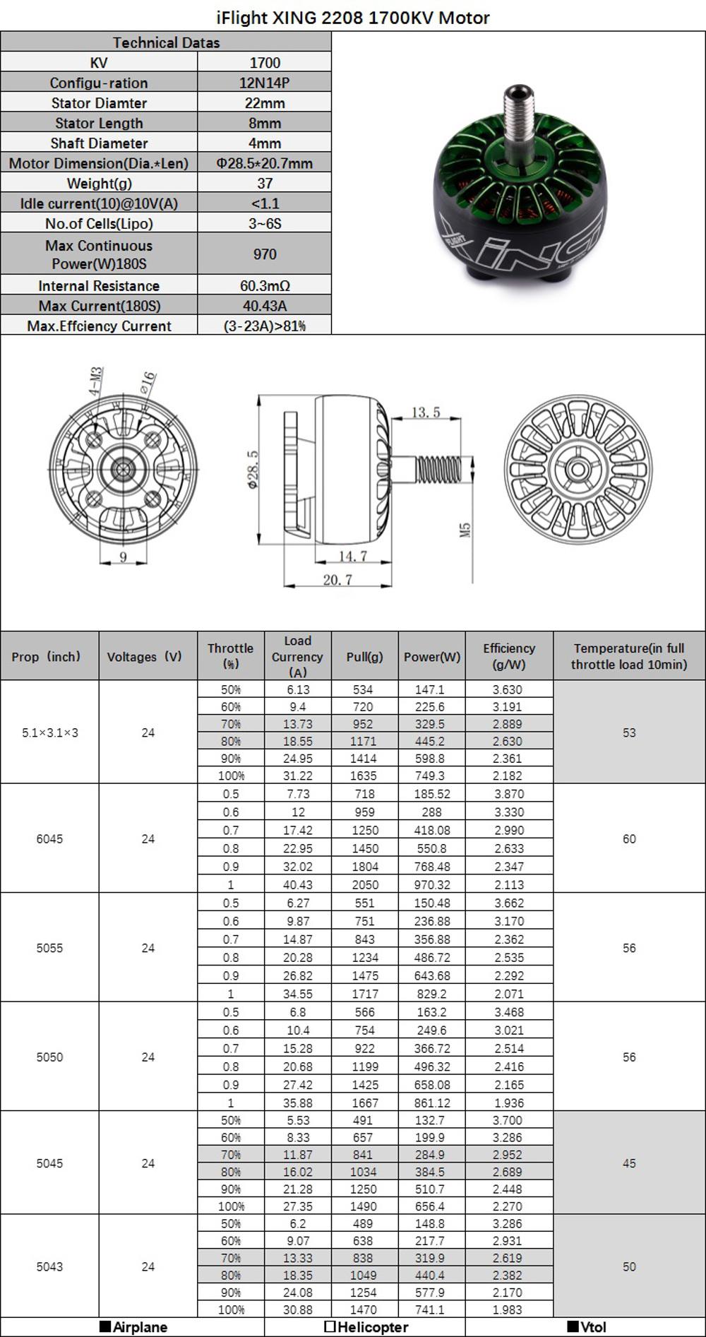 New iFlight XING X2208 1700KV 1800KV 2450KV 2-6S Brushless
