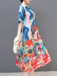 Plus Size Silk A-Line Short Sleeve Chinese Style Dress at ...