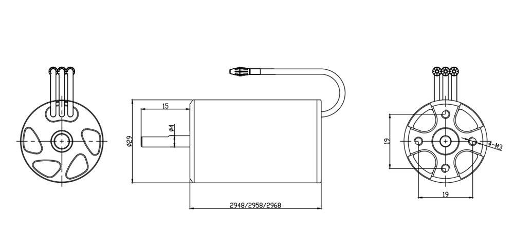 2958 4200KV Brushless Motor 70A ESC 29-S Water Cooling
