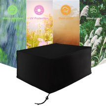 Patio Protective Furniture Cover Black Rectangular Extra