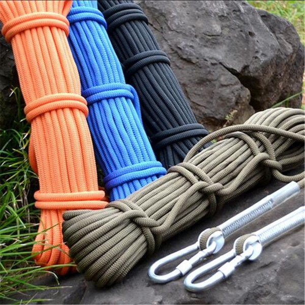 10m Army Green Tree Rock Climbing Rope Rescue Auxiliary Cord 2 Carabiners