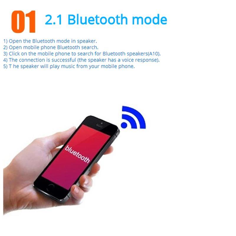 VAENSON A10 Portable Wireless Bluetooth Speaker USB Column MP3 Play FM Radio Stereo Subwoofer 9