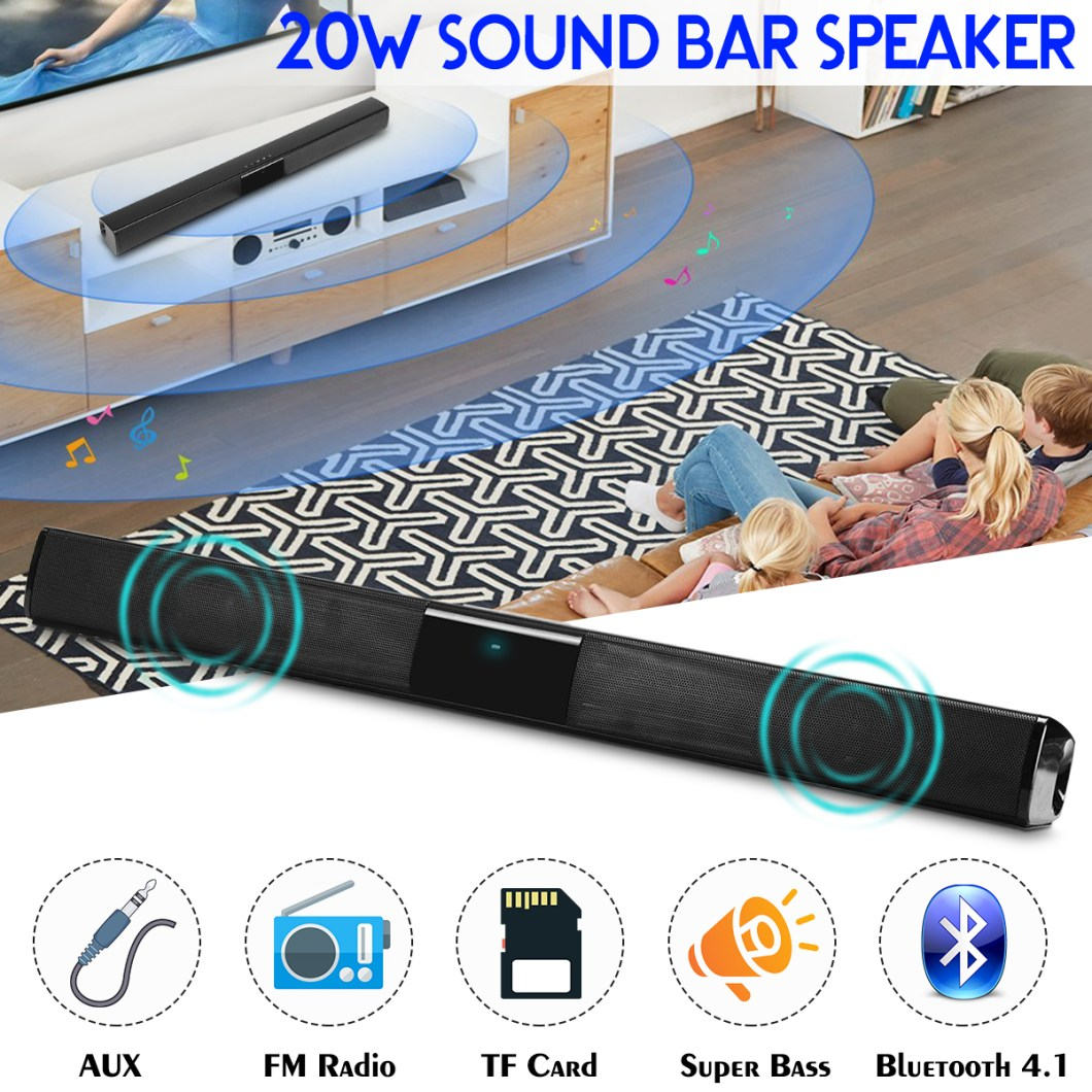 20W Wireless Bluetooth Speaker HiFi Stereo Soundbar FM Radio TF Card Aux-in Bass Speaker with Mic 8