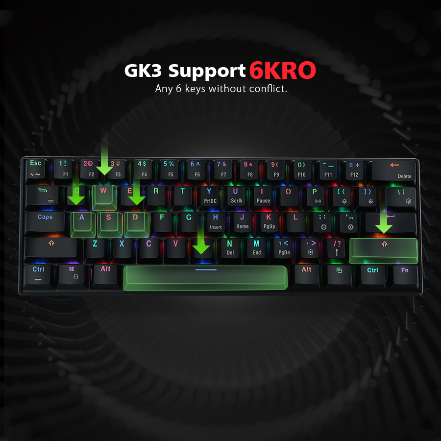 mantistek gk3 61 bluetooth wired dual mode cherry switch rgb 60 mechanical gaming keyboard. Black Bedroom Furniture Sets. Home Design Ideas