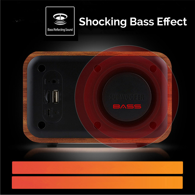 iBOX D90 Wooden Subwoofer Alarm Clock Microphone Bluetooth Speaker Support U Disk TF Card AUX 7
