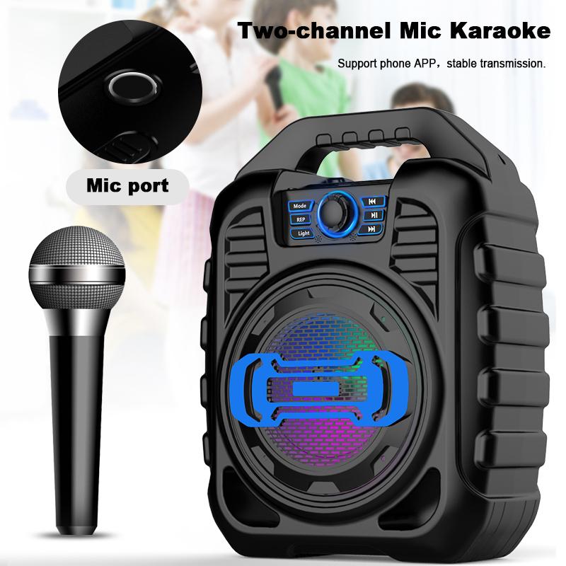 Bakeey Wireless Bluetooth Speaker Kalaoke Colorful Light Stereo TF Card FM Radio Portable Speaker 12