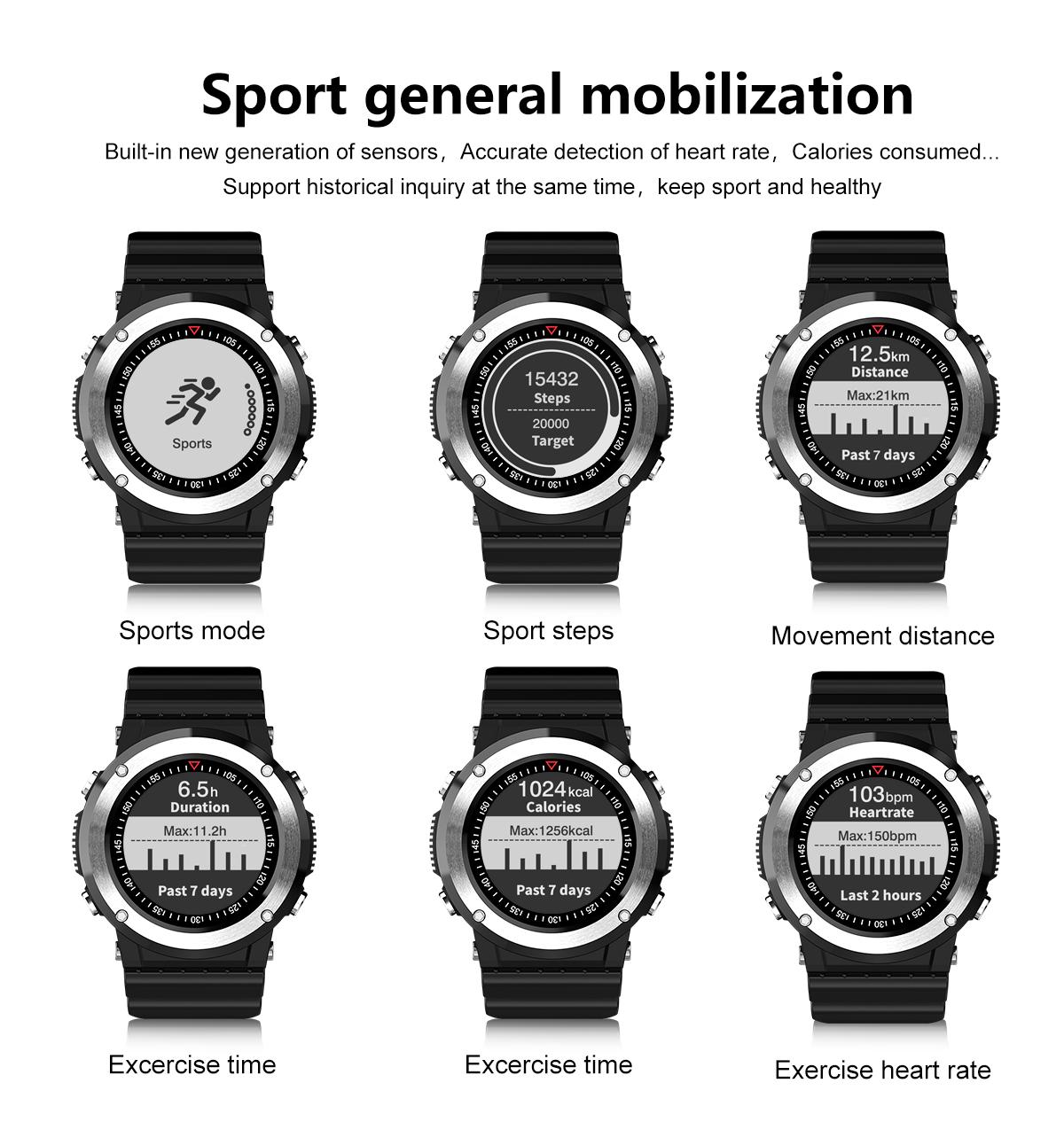 Newwear Q6 1.0inch GPS Compass Heart Rate Monitor Sports