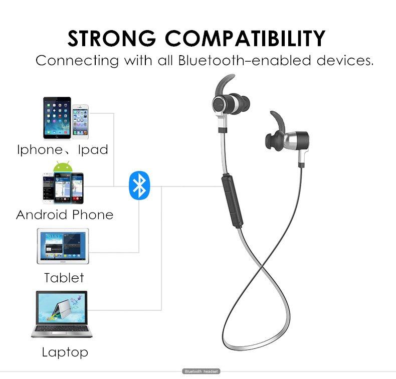 magnetic wireless bluetooth earphone bass ipx7 waterproof