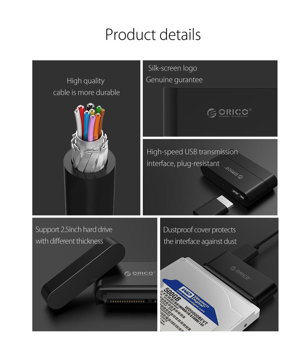 Orico 20UTS USB 3.0 SATA Ⅲ 6Gbps UASP 2.5inch HDD SSD External Hard Drive Adapter Converter Cable 35