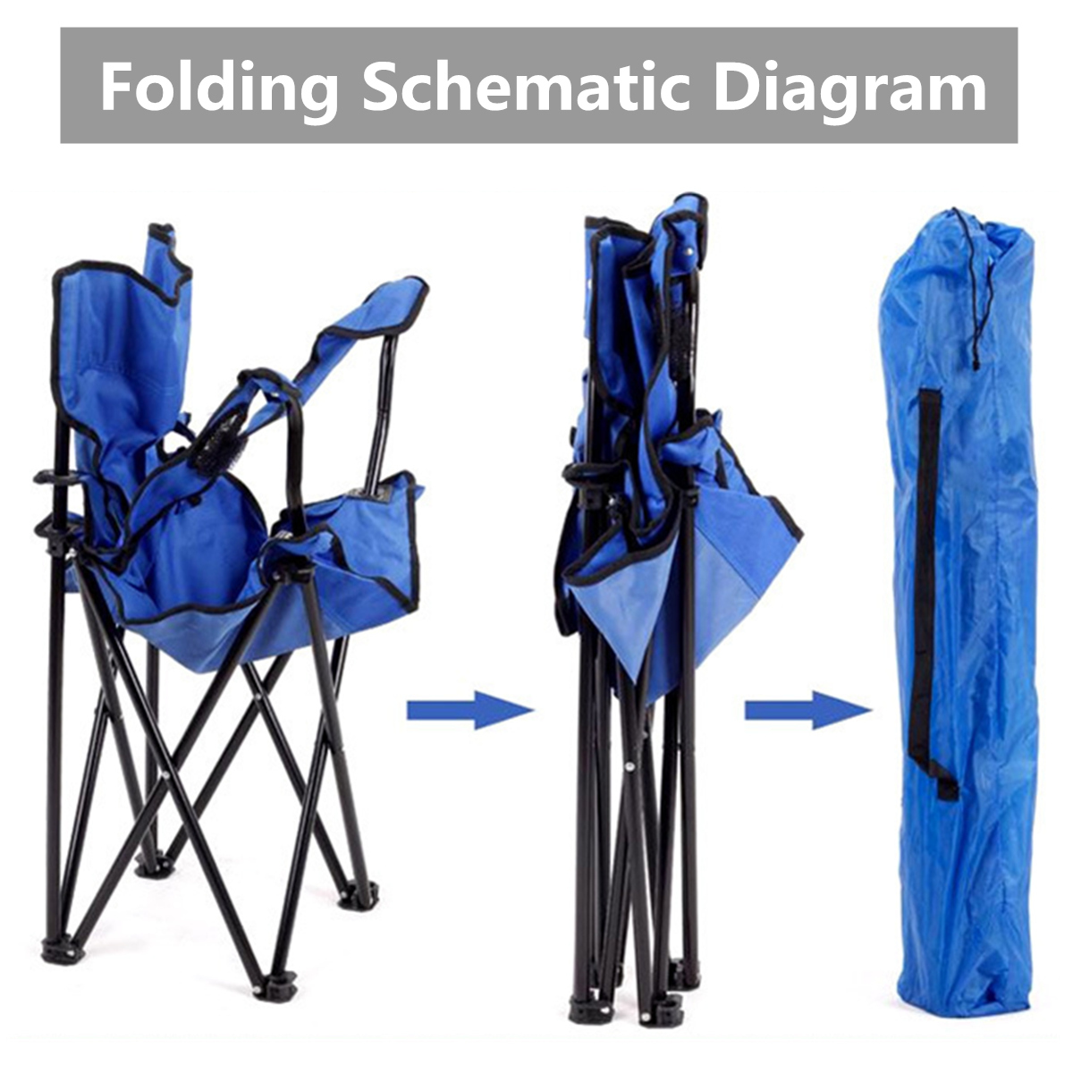 folding chair fishing pole holder sure fit dining covers nz outdoor portable camping beach picnic shipping methods