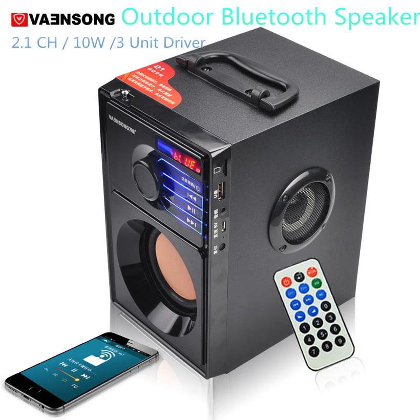 VAENSON A10 Portable Wireless Bluetooth Speaker USB Column MP3 Play FM Radio Stereo Subwoofer 7