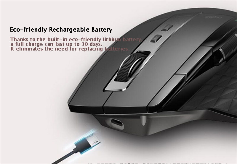 Rapoo MT750S Rechargeable Multi-mode Wireless Mouse Bluetooth 3.0/4.0 2.4GHz Switch Among 4 Devices 11